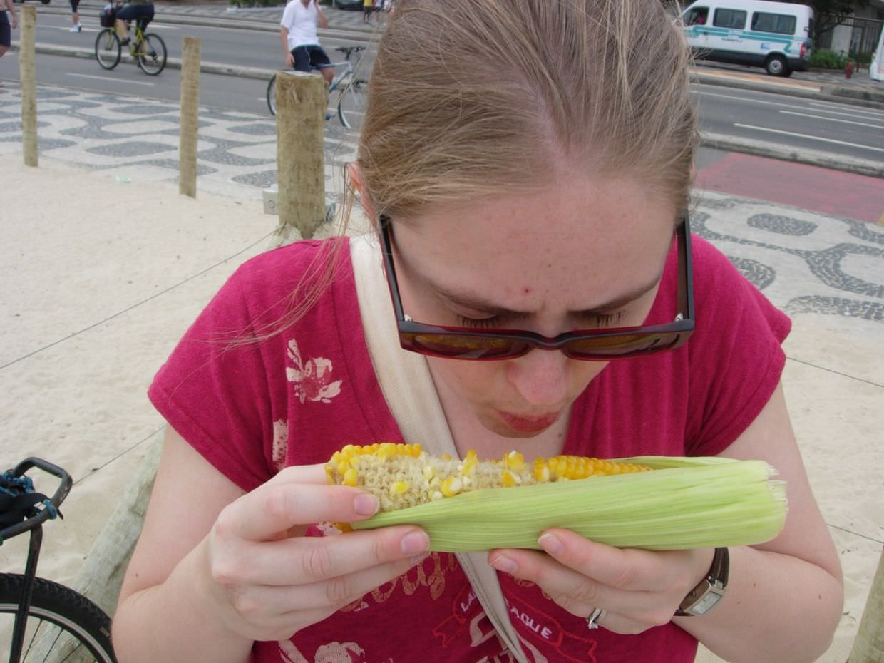 Sam with her corn on the cob