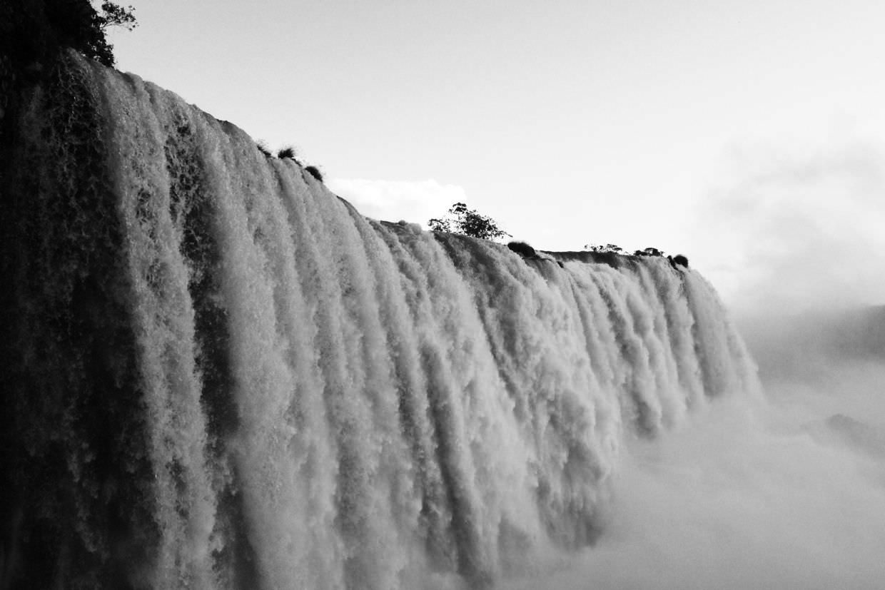 Iguazu falls in black and white