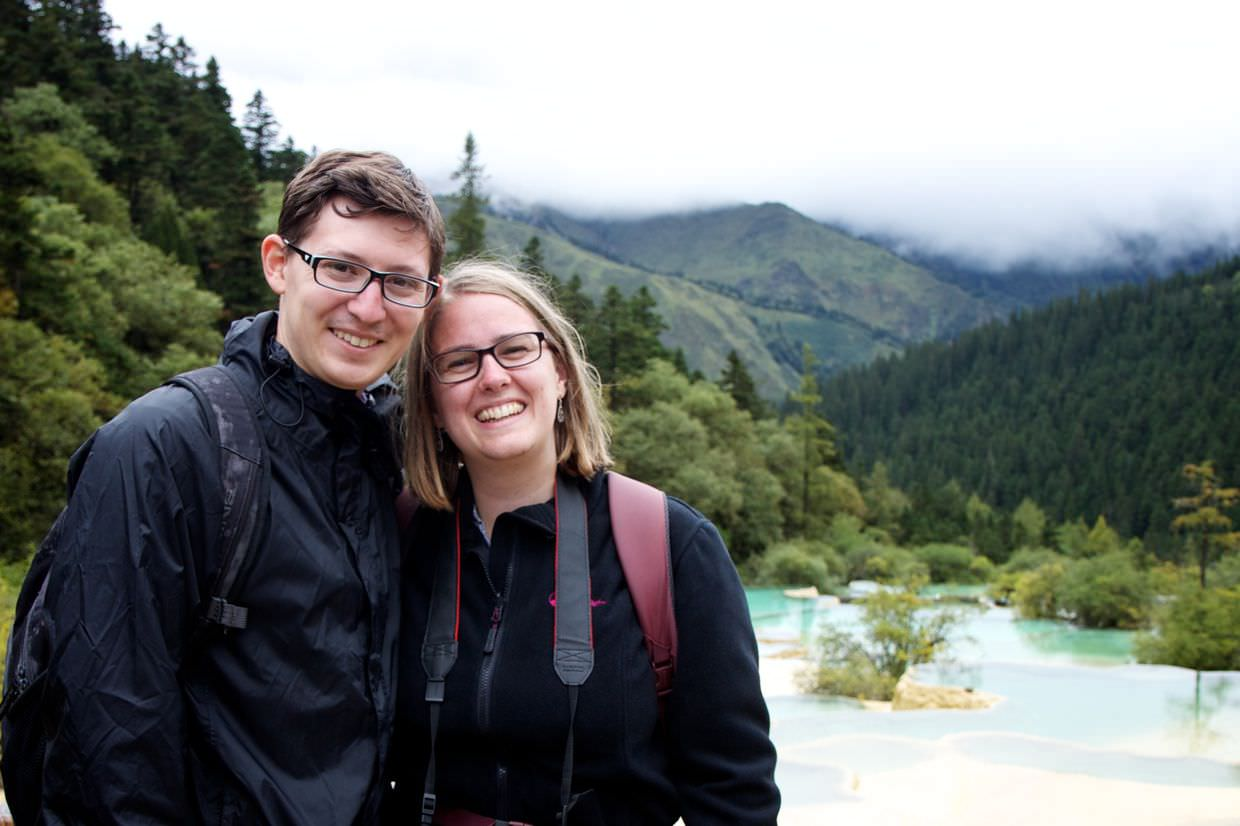 Samantha and Paul in Huanglong national park