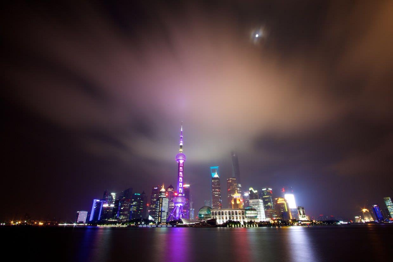 A full moon over Shanghai's financial center