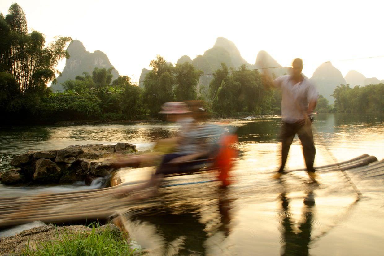 Last bamboo raft of the evening