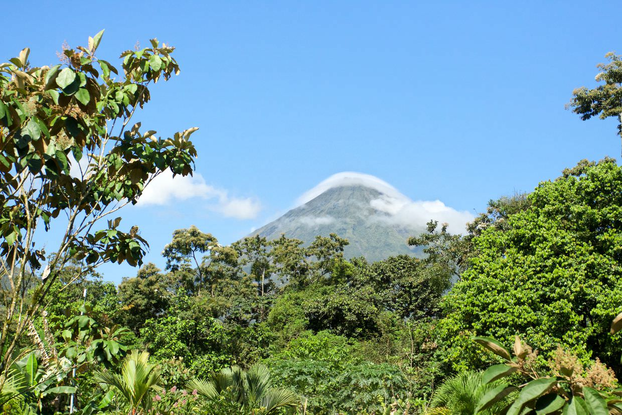 View of Arenal Volcano from our room