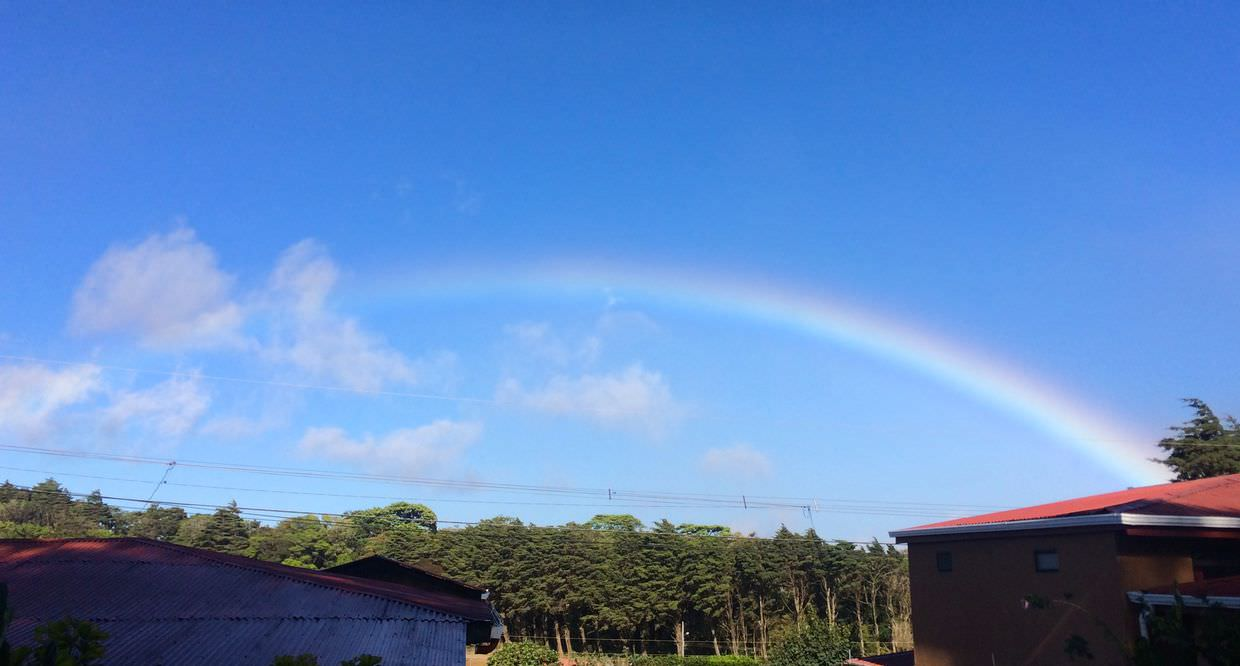 Rainbows in Monteverde don't need clouds
