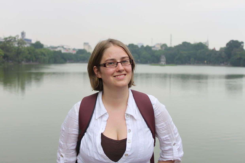 Samantha on Hoan Kiem lake