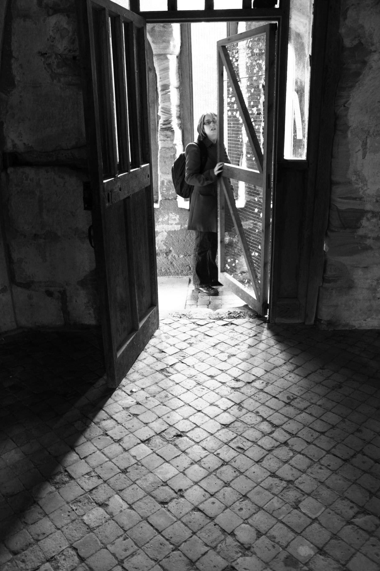 Samantha in the doorway