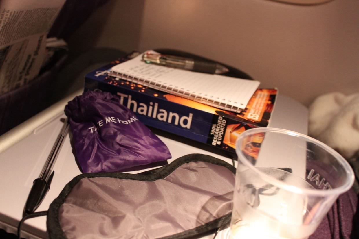 Reading our Thailand guide, on the outbound flight