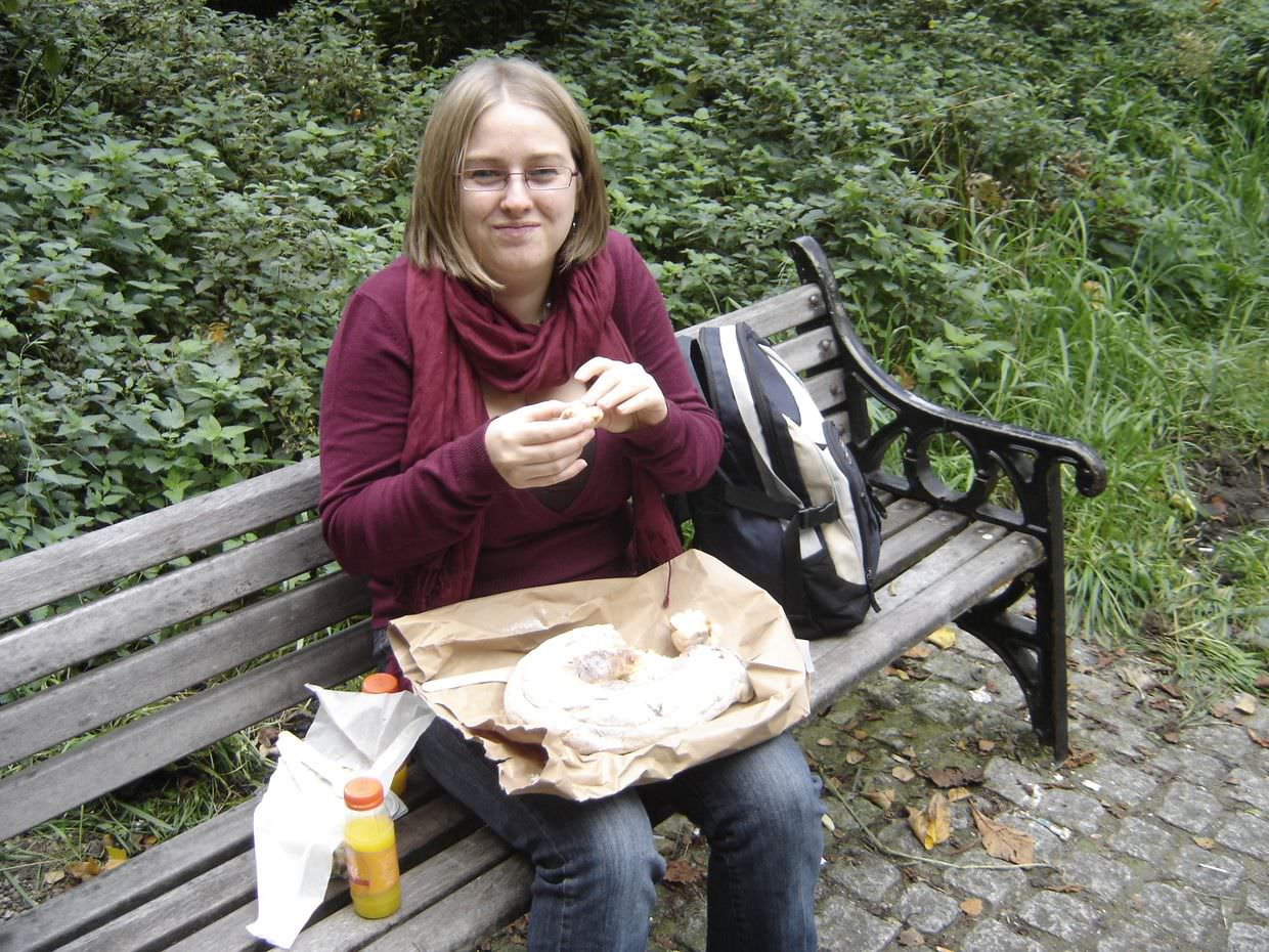 Samantha enjoying our bread and cheese picnic