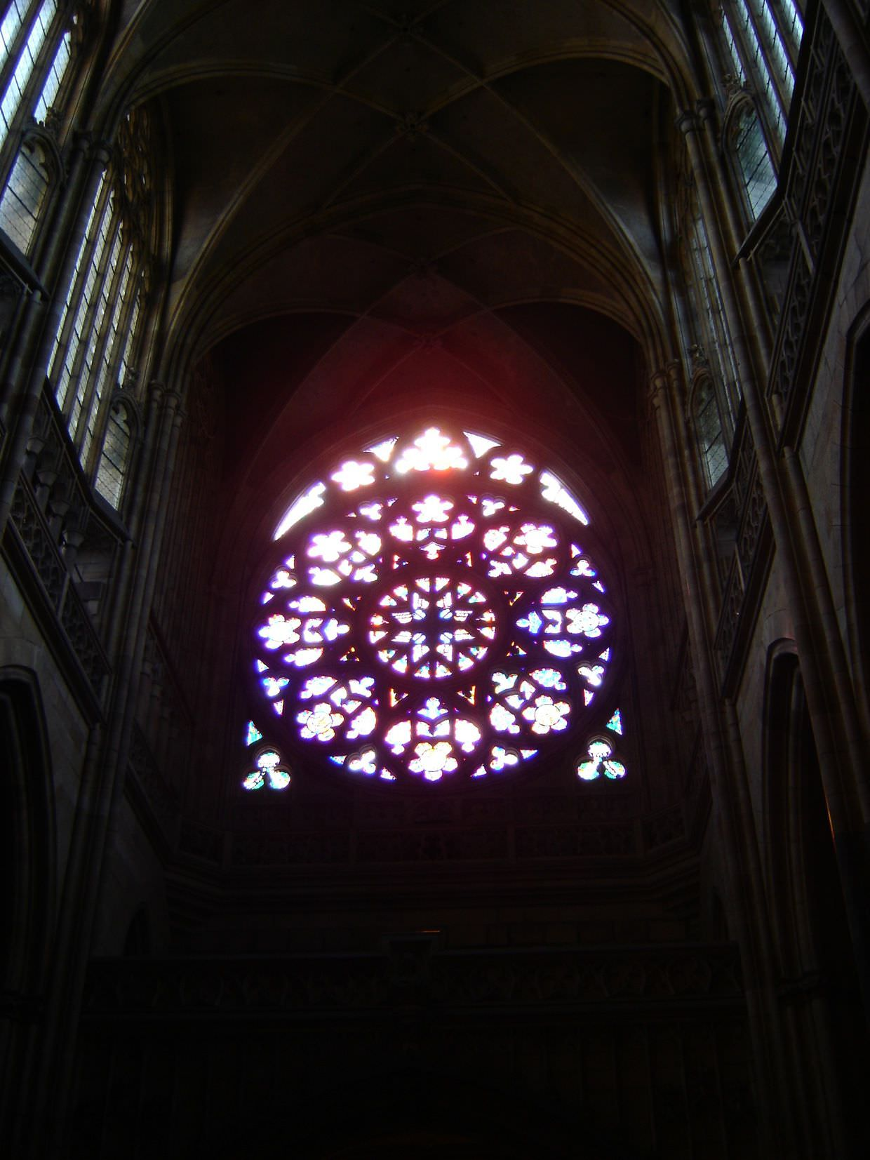 Stained glass window in Prague Cathedral