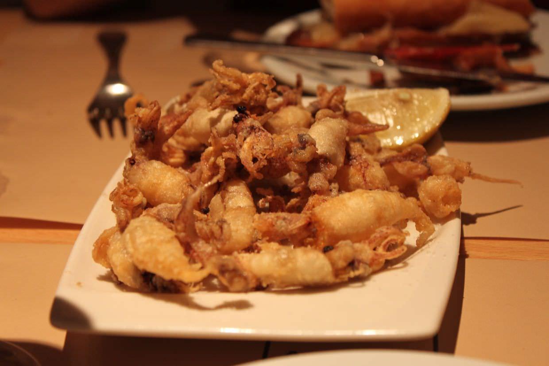 Fried baby squids at Cerveceria Catalana