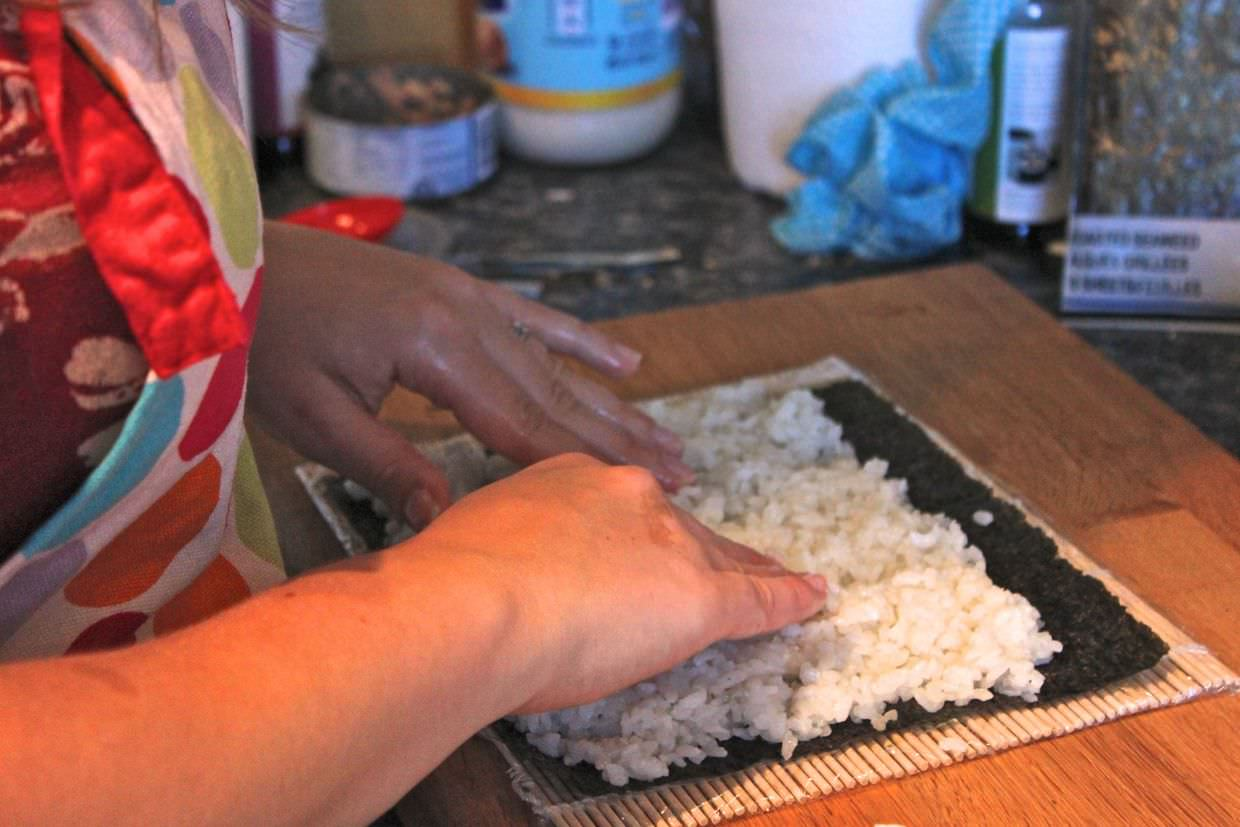 Laying out the rice and nori