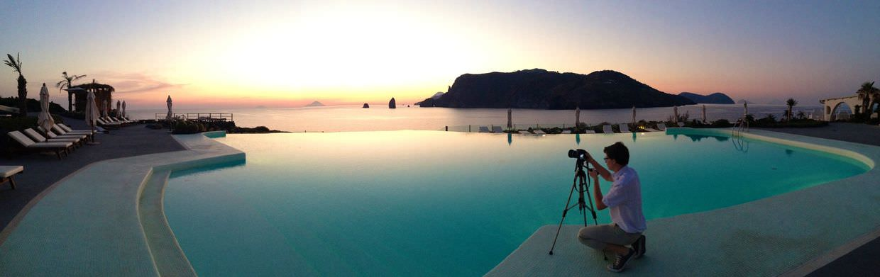 A panorama of the Aeolian Islands from Therasia's pool
