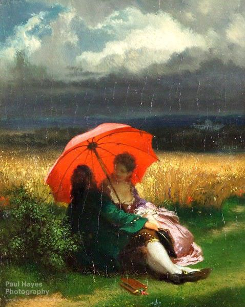 """A Red Parasol in the Summertime"" by Josef Manes (1855)"
