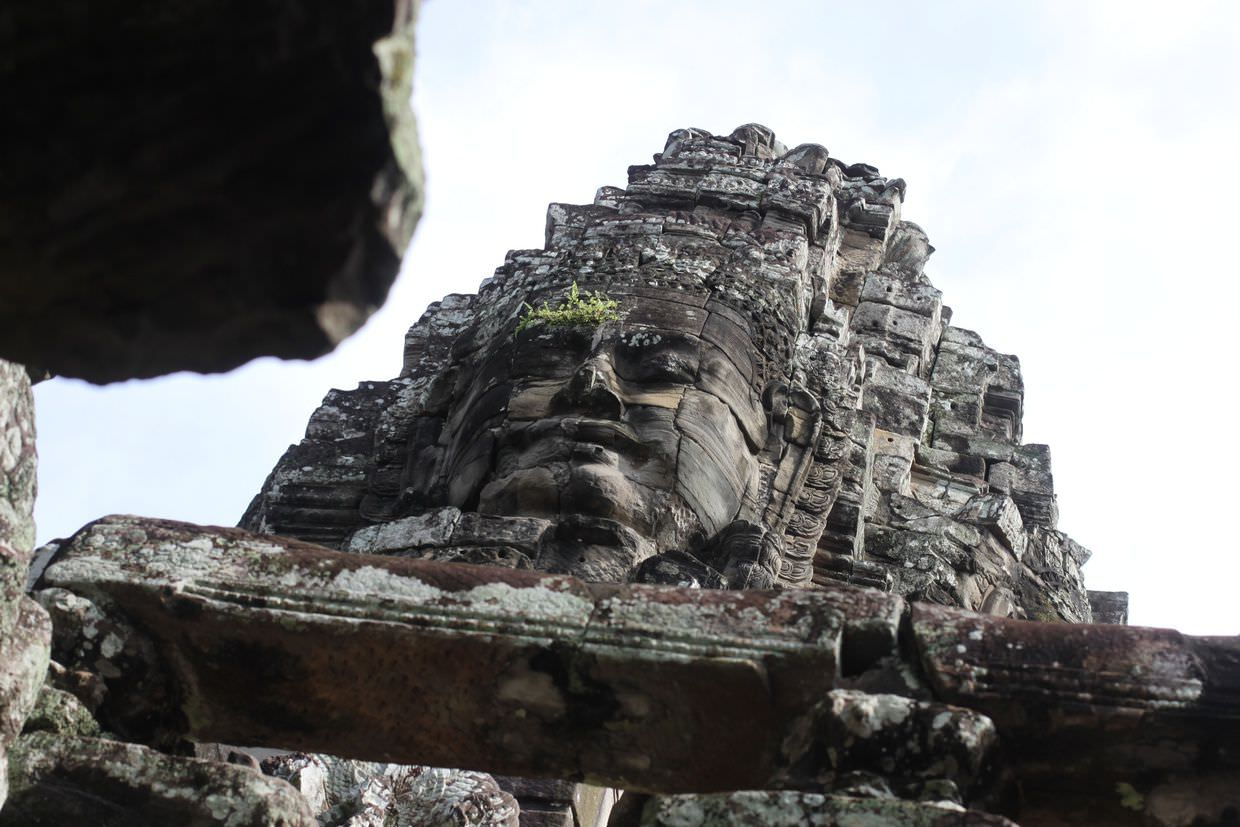 Looking up at a bodhisattva face