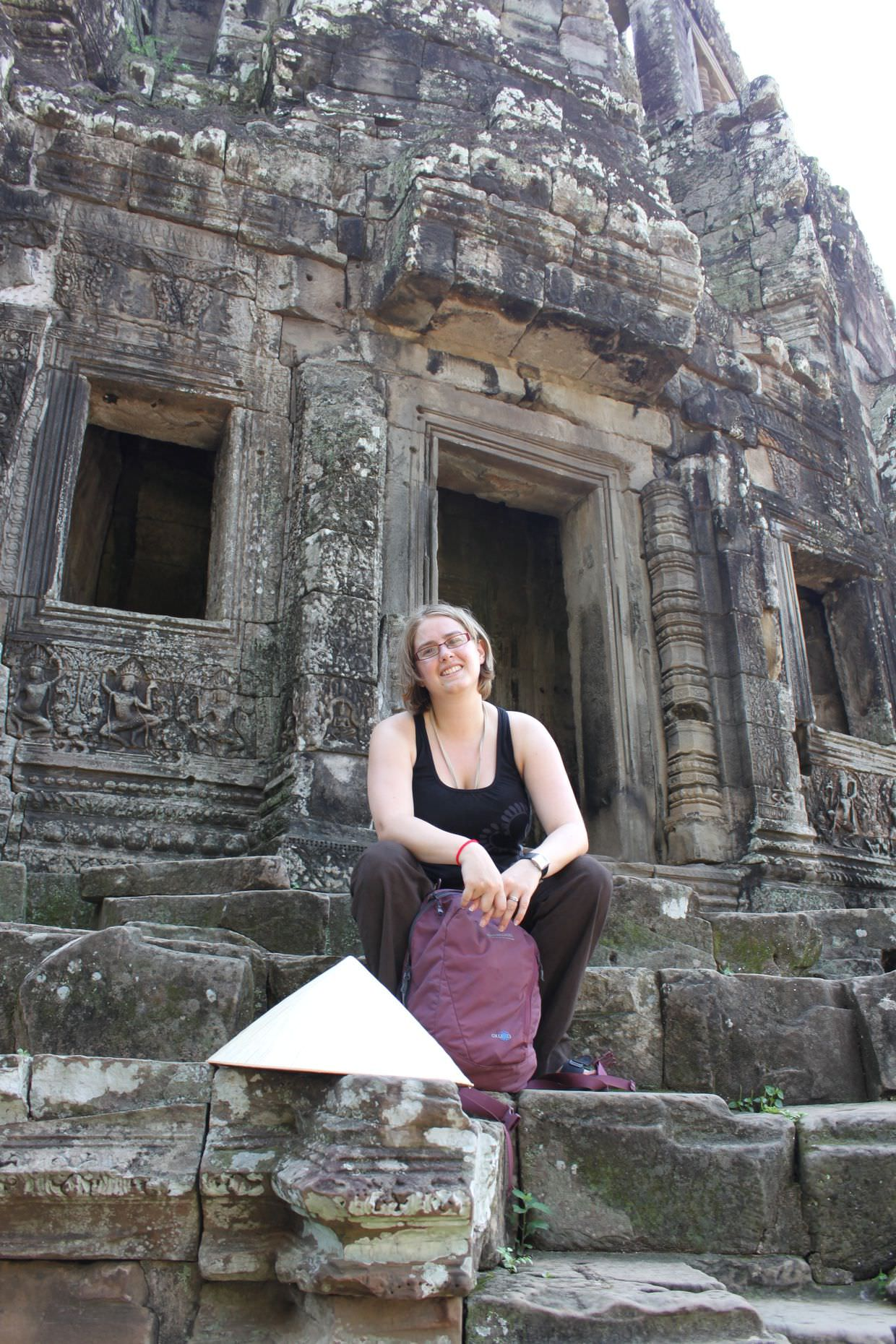 Samantha at the top of Bayon temple