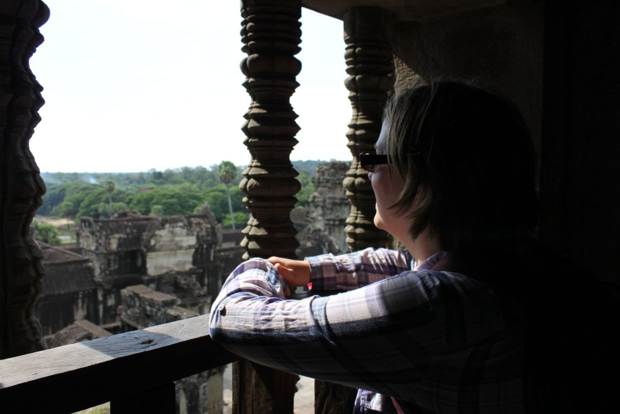 Looking out from the top of Angkor Wat