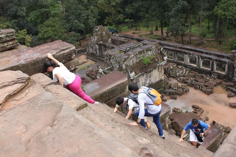 A steep climb at Ta Keo