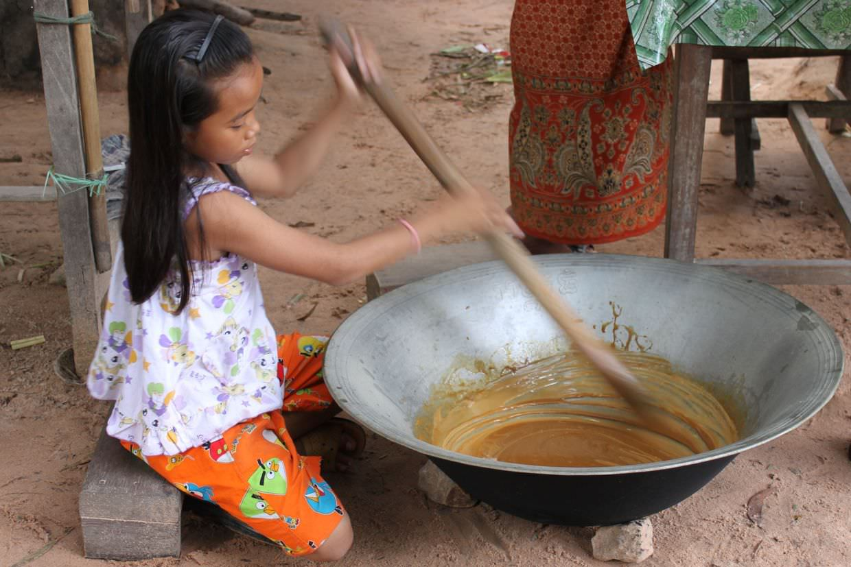 Making palm sugar sweets