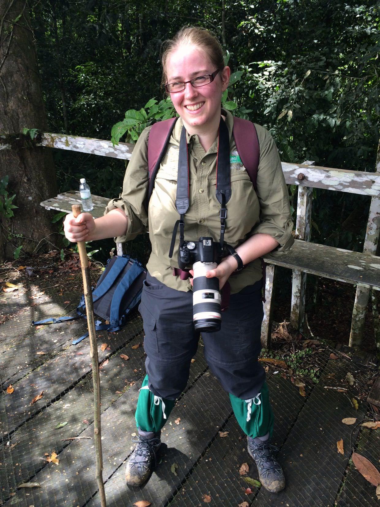 Samantha in full jungle trekking gear