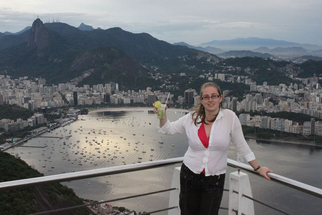 Samantha with a Caipirinha on Sugarloaf mountain