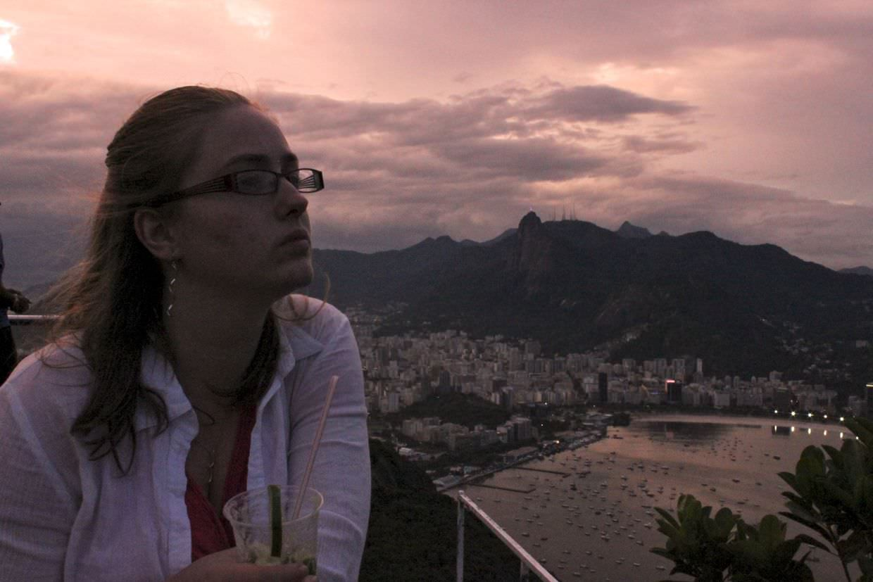 Sam as sun sets over Rio