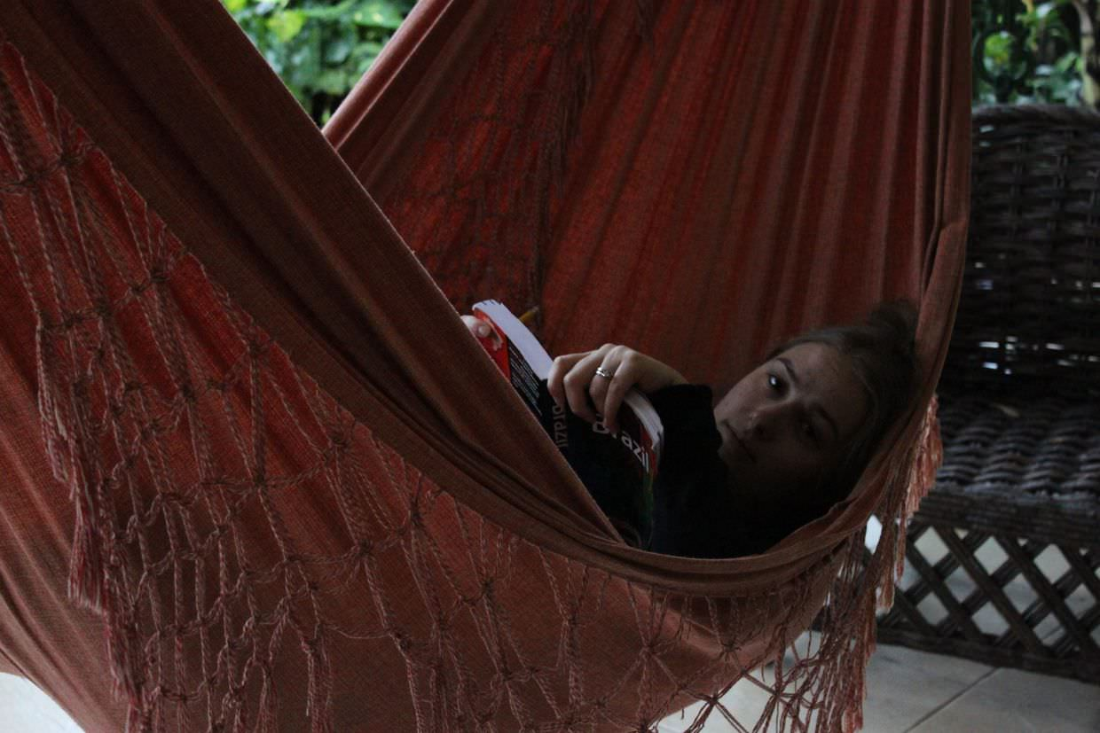 Sam relaxing in a hammock