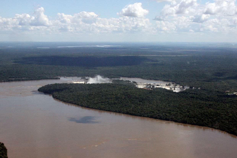 Iguazu falls from the flight into Foz do Iguaçu