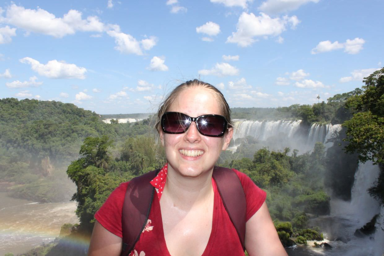 Samantha, waterfalls, a rainbow, fluffy clouds. Butterfly just out of shot.
