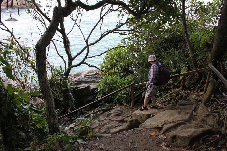 Samantha hiking back