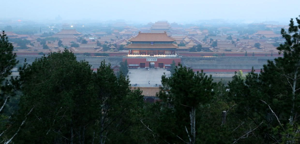 A smoggy Forbidden City as seen from Jingshan park