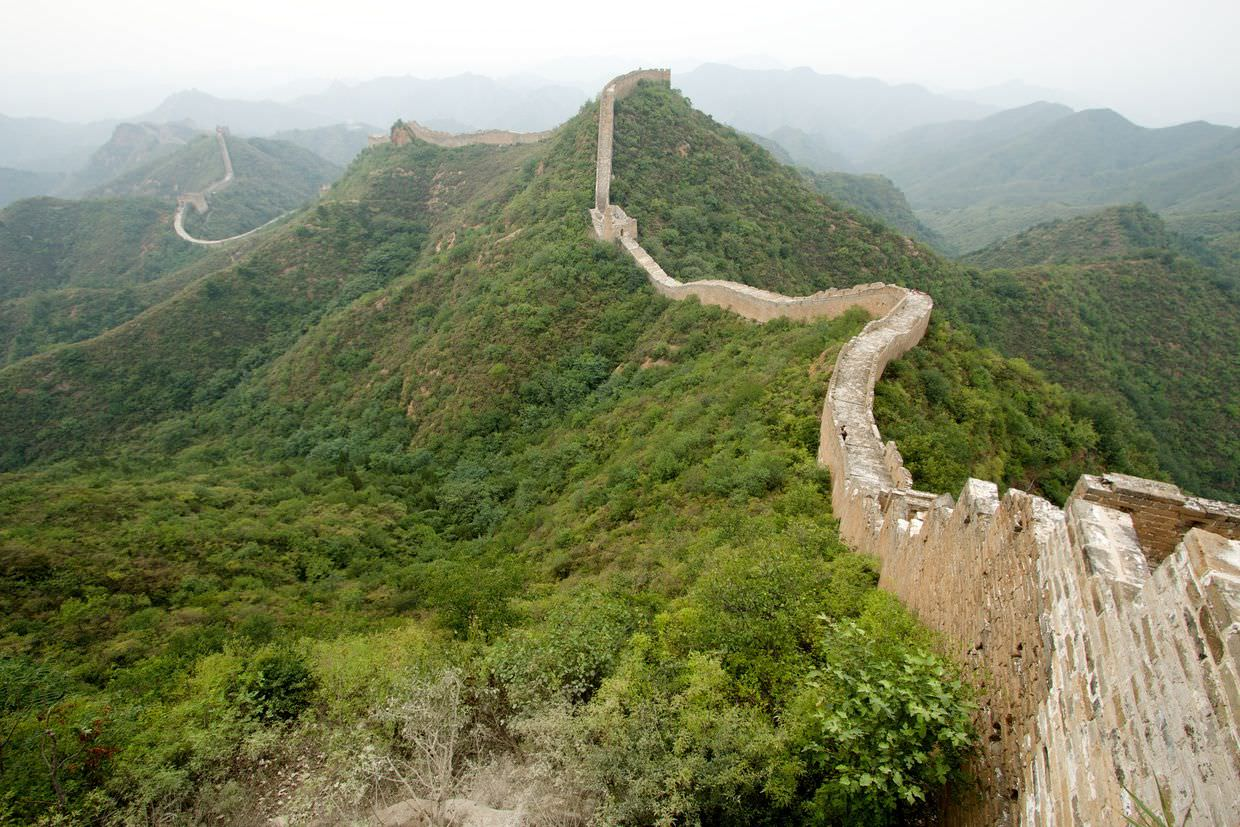 Deteriorating Great Wall heading East at Jinshanling