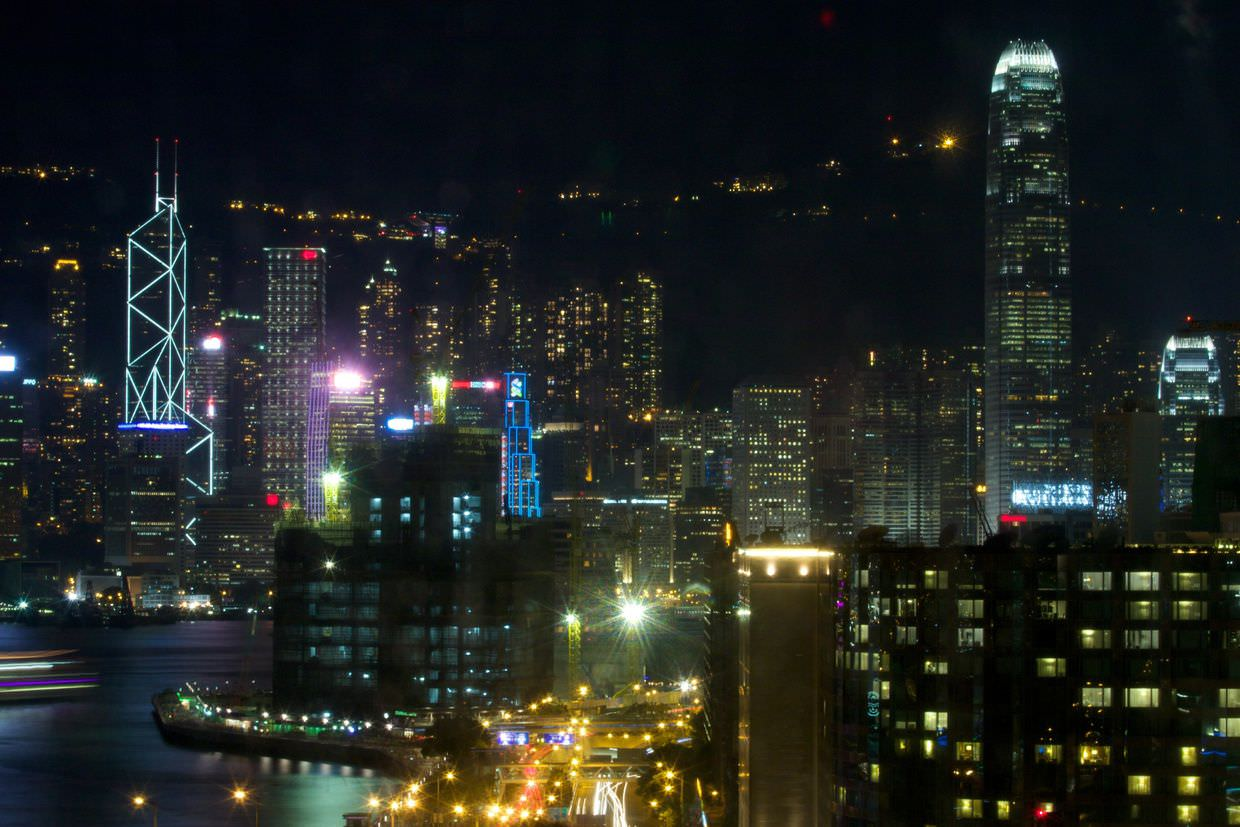 View of Hong Kong island from our room at Harbour Plaza Metropolis