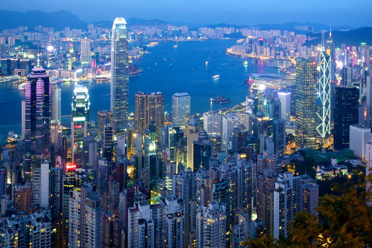 Hong Kong in twilight, from Victoria Peak
