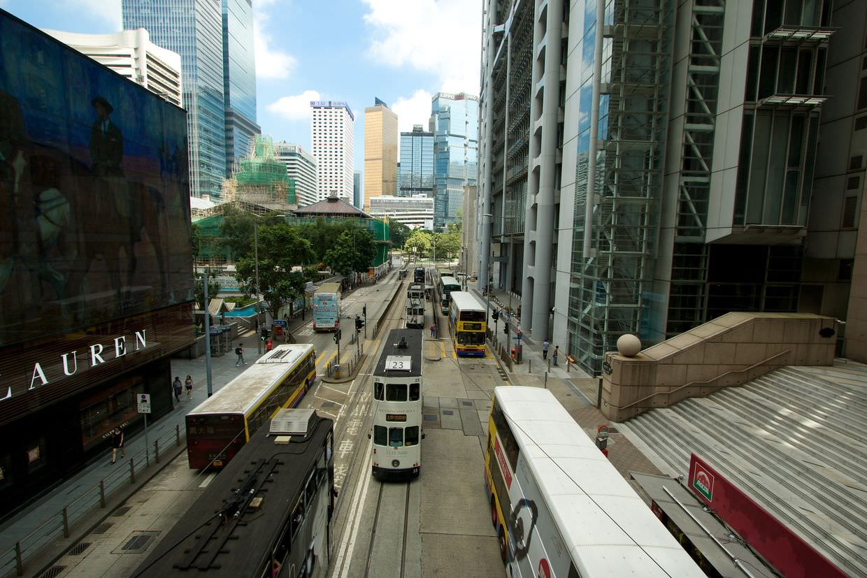 Trams of Hong Kong, by the HSBC building