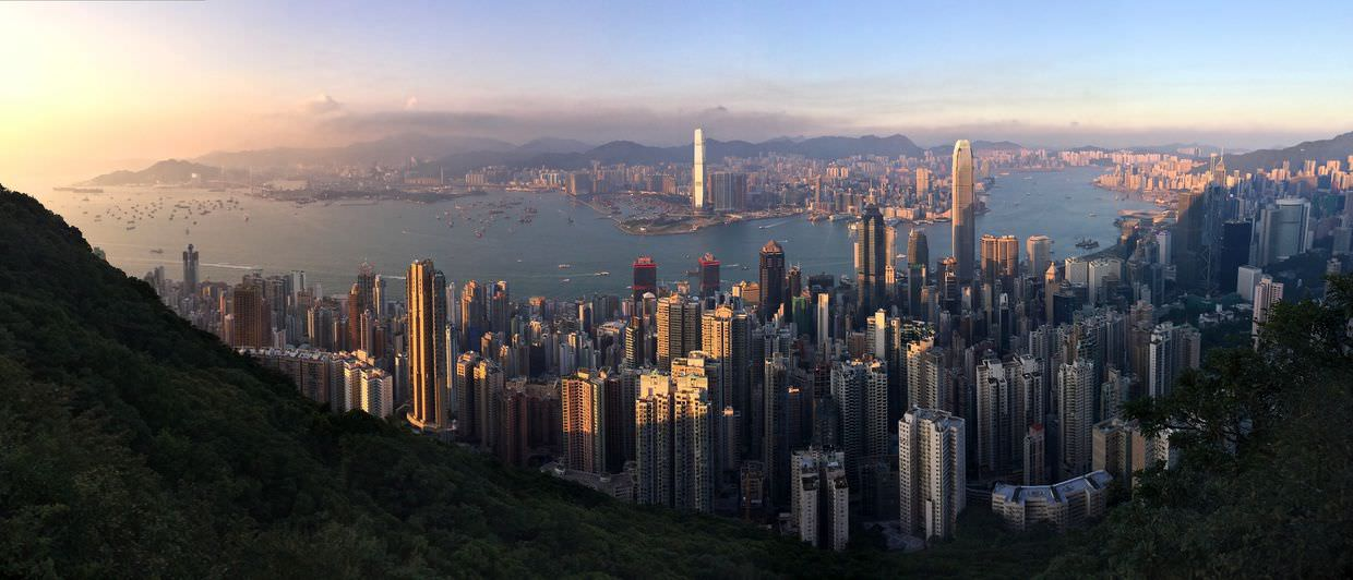 Panorama of Hong Kong at sunset, from Victoria Peak