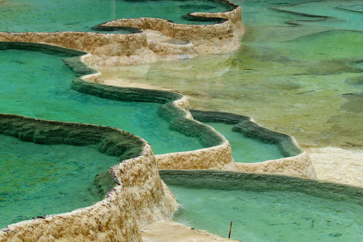 Turquoise pools in Huanglong park