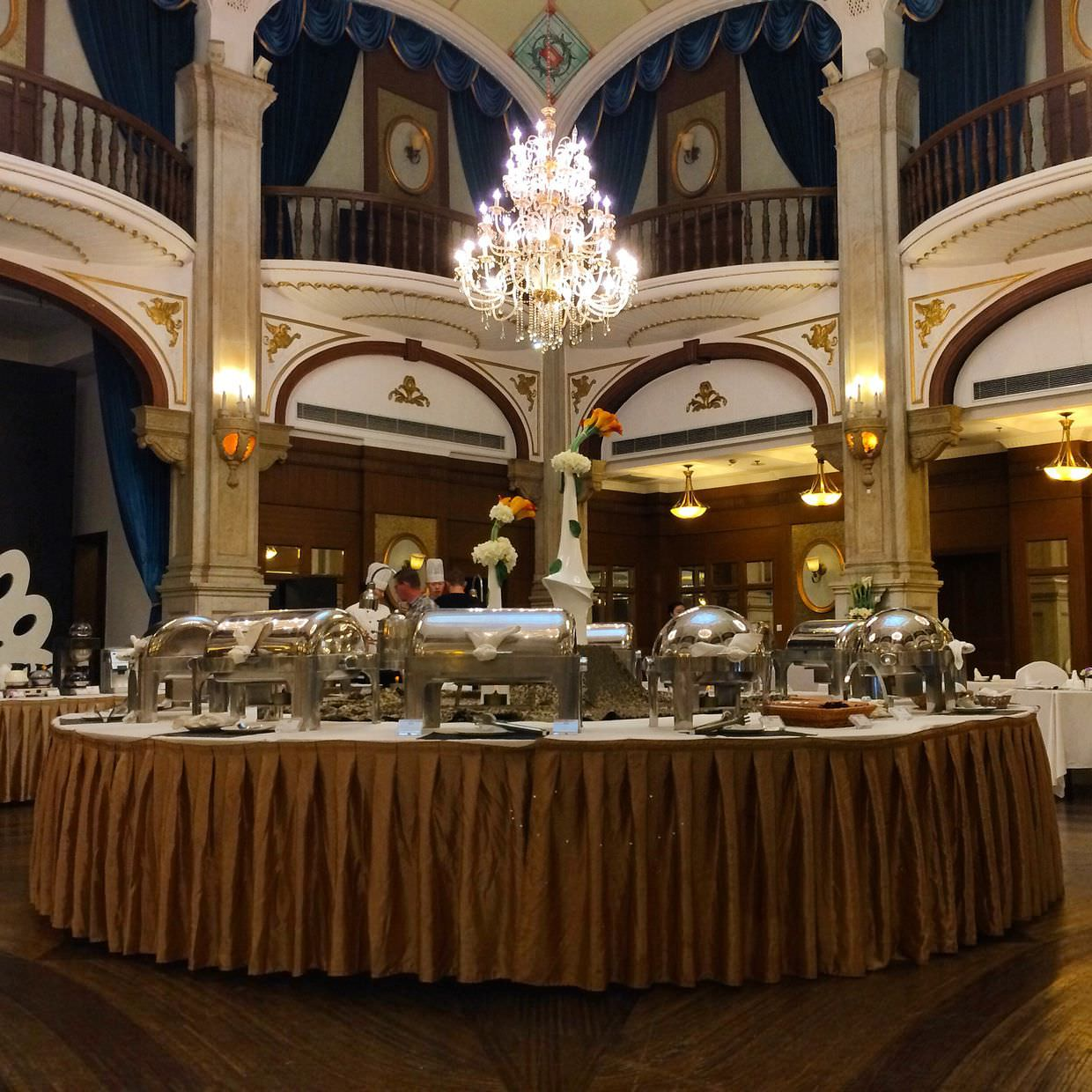 Breakfast in the Peacock ballroom