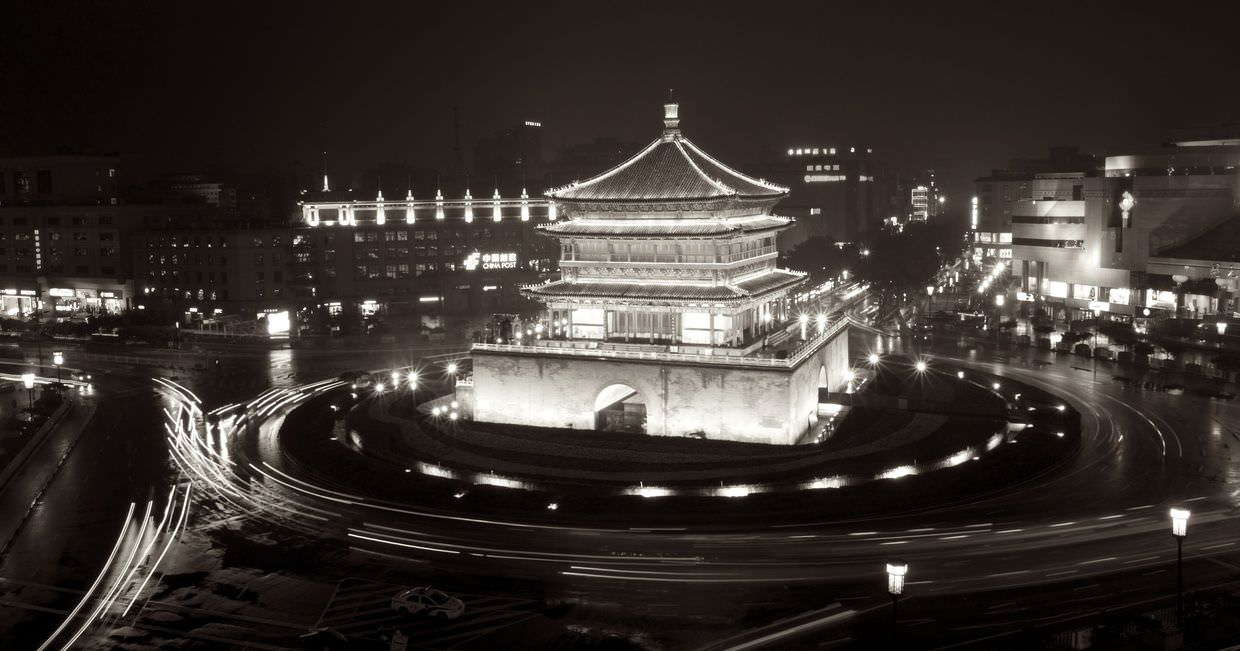 Xi'an bell tower at night
