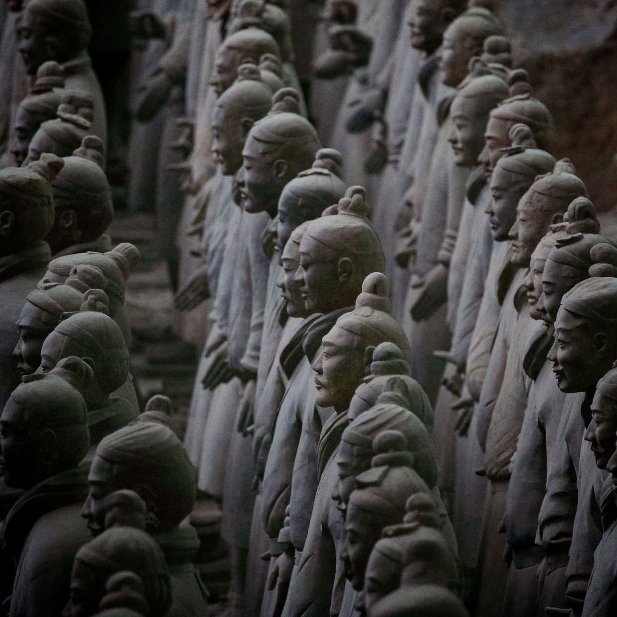 Army of Terracotta Warriors. Unique expressions, heights and pose.