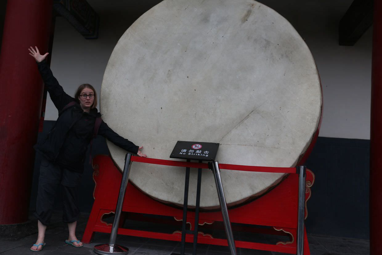 """No striking"", Sam and a giant drum"
