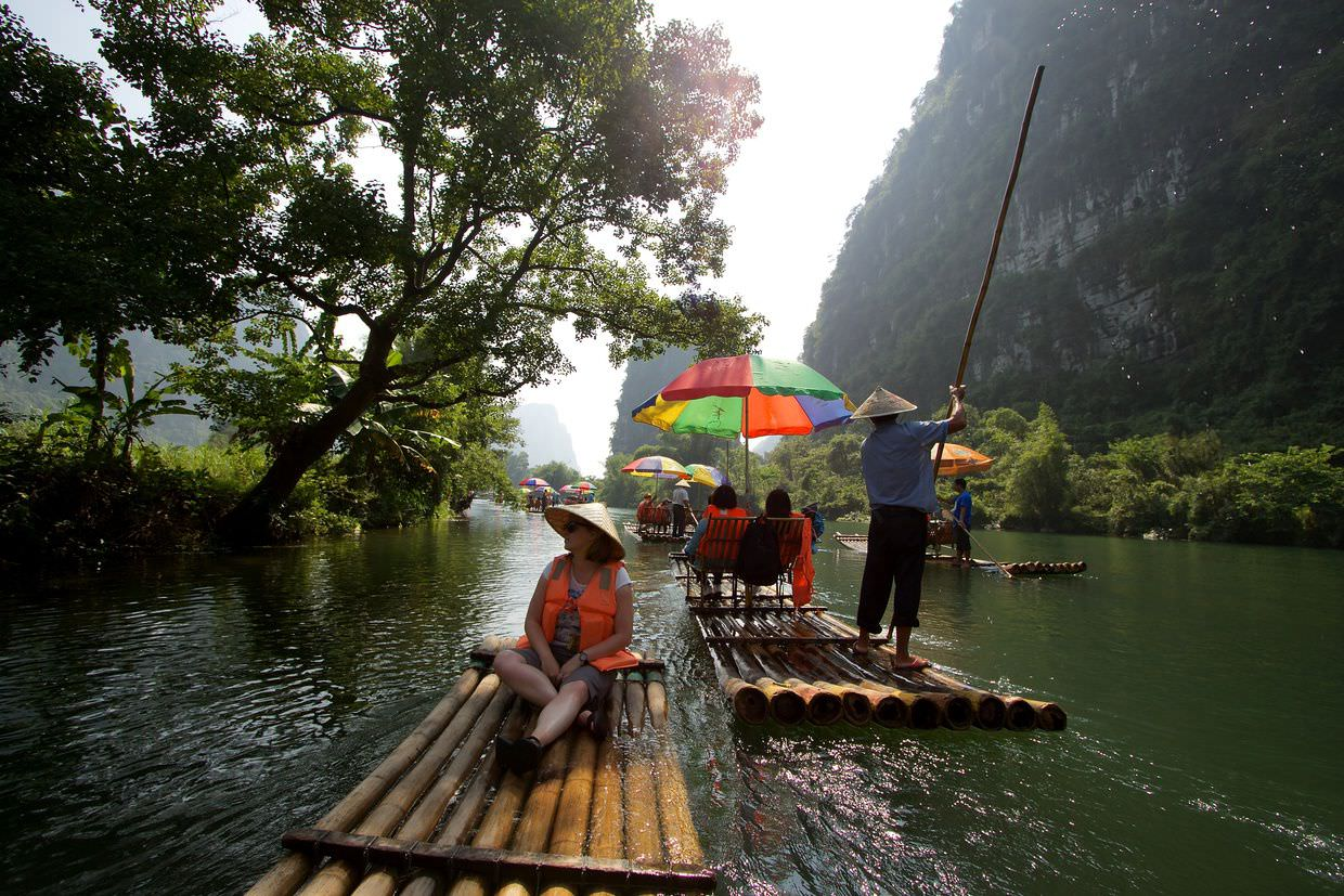 Bamboo rafting down Yulong river
