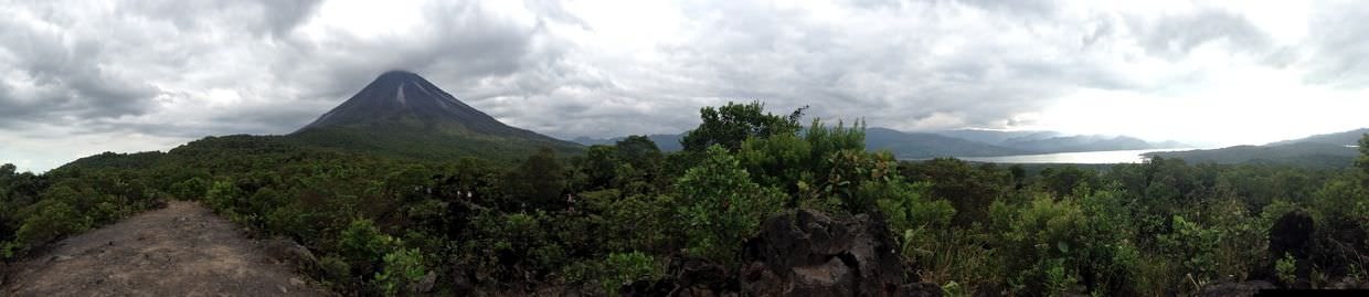 Panorama view of volcano and lake