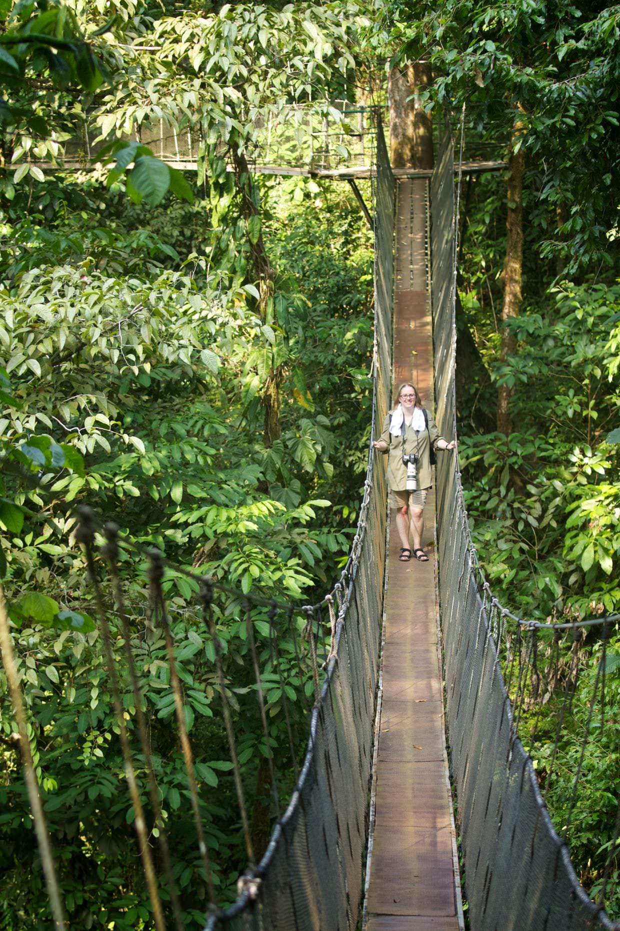 Samantha on a hanging bridge