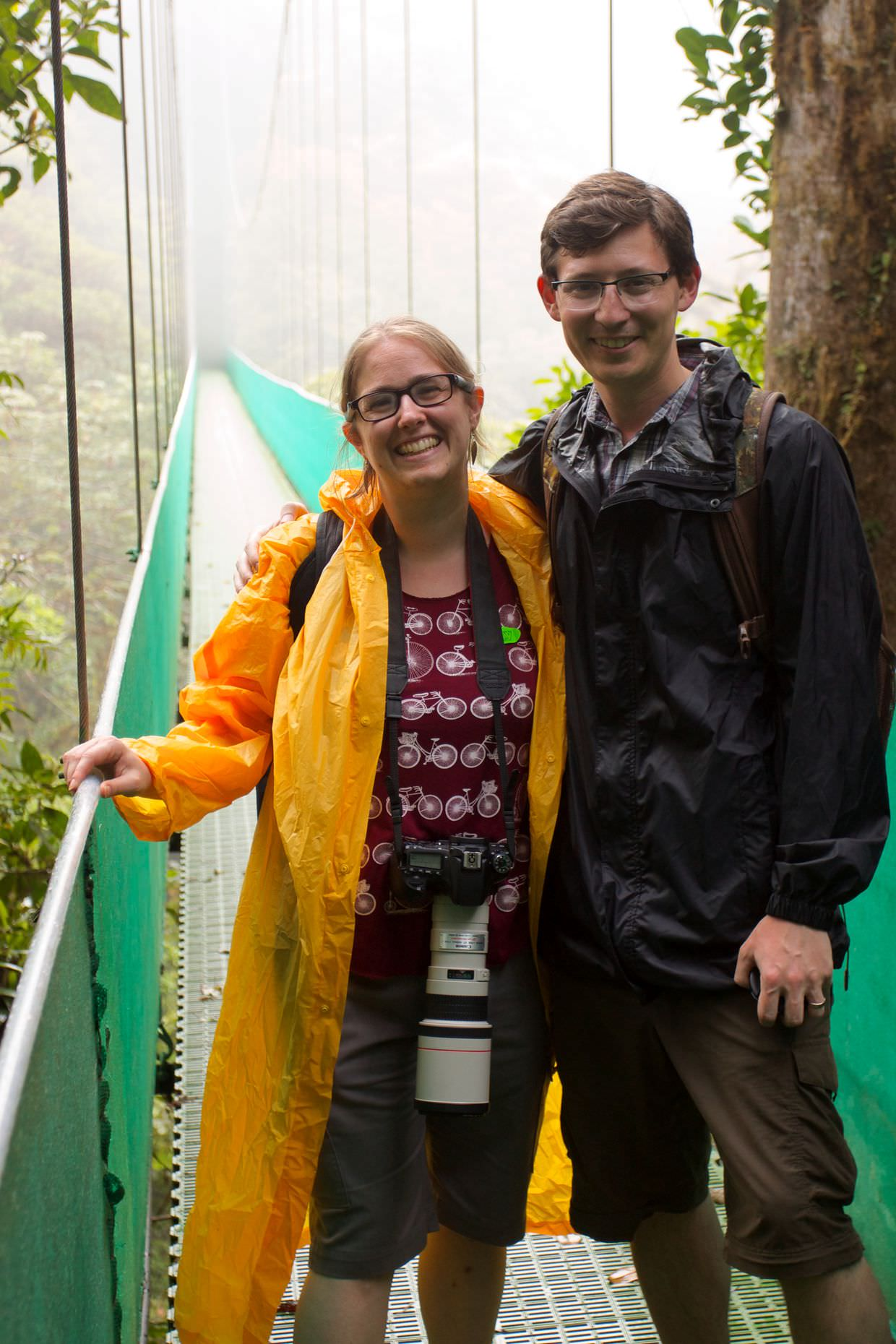 Sam and Paul on a hanging bridge
