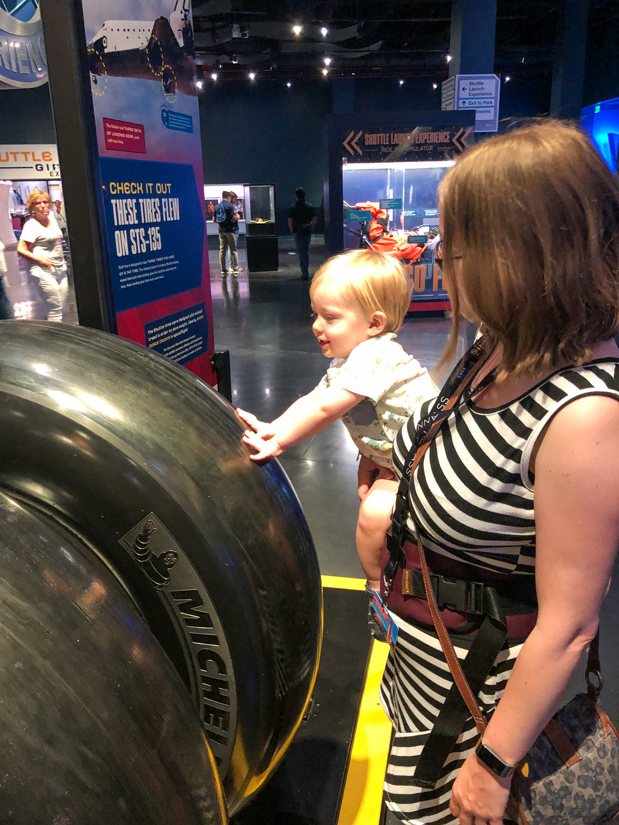 The giant tyres of a space shuttle