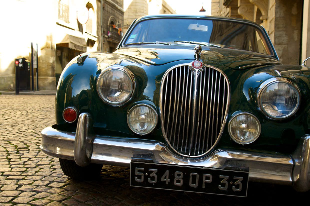 A Jaguar in the heart of old town Bordeaux