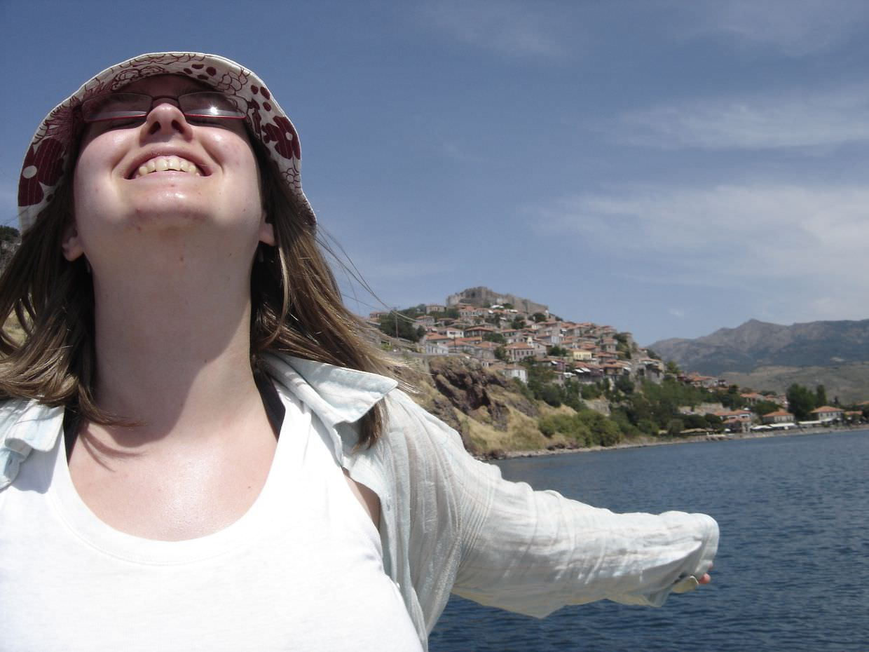 Sam pleased to be heading back to Molyvos by boat