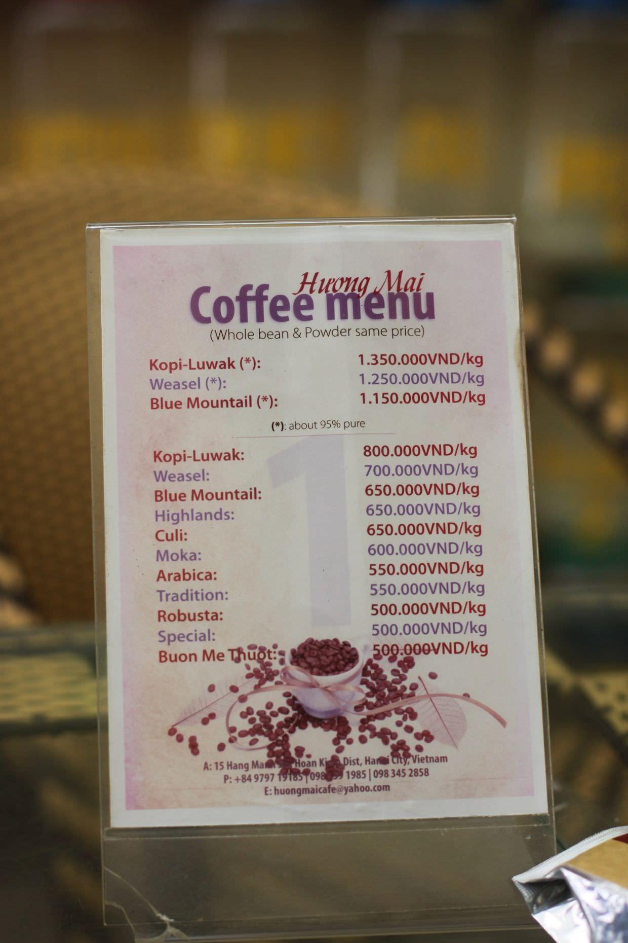 Huong Mai coffee menu