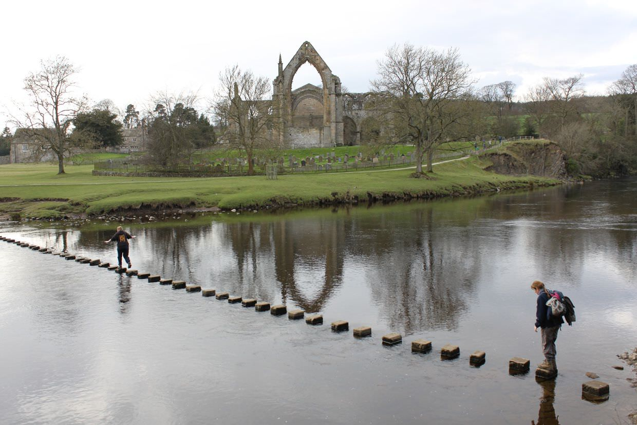 Stepping stones and Bolton Abbey