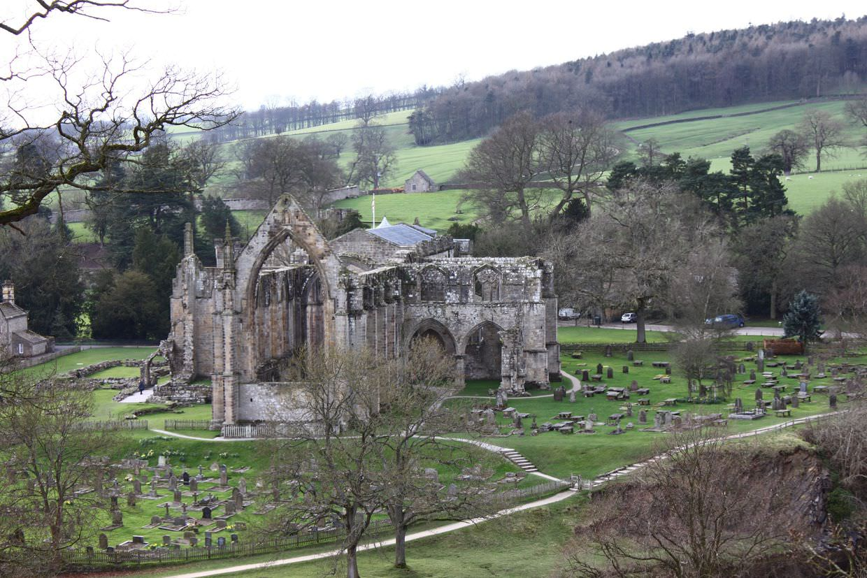 View of Bolton Abbey from valley edge