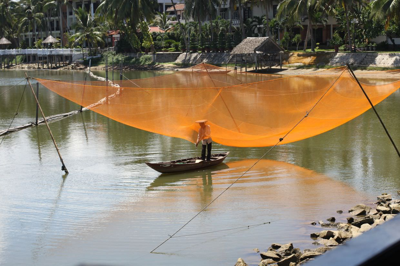 Fishing next to Hoi An beach resort